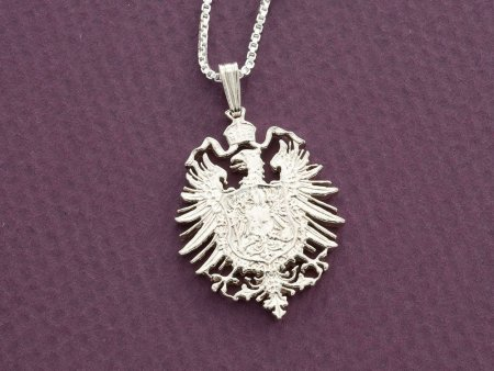 "Silver German Eagle Pendant , Hand cut German five mark coin , German Coin Jewelry, 1 1/8"" diameter, ( # 880S )"