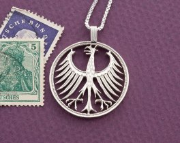 "Silver German Eagle Pendant, Hand Cut German five mark coin, German Eagle Jewelry, 1 1/8"" in diameter, ( # 116S )"