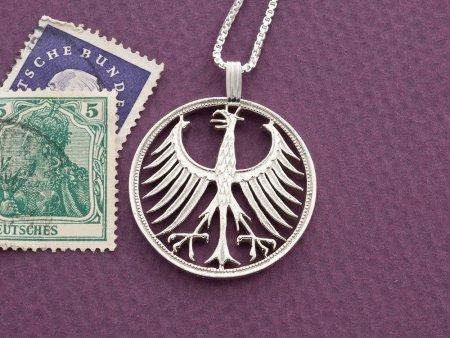 "Silver German Eagle Pendant, Hand Cut German five mark coin, German Eagle Jewelry, 1 1/8"" in diameter, ( # 116S )"