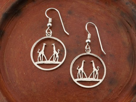 Silver Giraffe Earrings, Giraffe Earrings, Giraffe Jewelry, Silver Giraffe Jewelry, Wild Life Gifts , African Wild Life Jewelry, ( # 266ES )