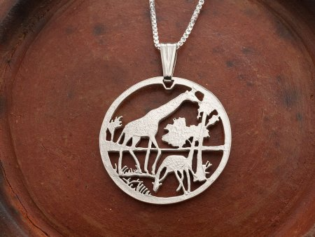 "Silver Giraffe Pendant and Necklace, Hand cut Mozambique Giraffe Coin, African Wild Life Jewelry, 1 1/8"" diameter, ( # 647S )"