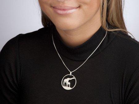 """Silver Giraffe Pendant, Hand cut Zambia Giraffe coin pendant, Silver Wild Life Jewelry, 1 3/8"""" diameter, ( # 883S )"""