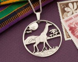"Silver Giraffe Pendant, Sterling Silver Giraffe Jewelry, African Wildlife Jewelry, Giraffe Gifts, Wild Life Jewelry, 1 1/2"" Dia. ( # 920S )"