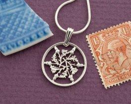 "Silver Great Britain Six Pence Pendant, hand cut Great Britain Six Pence, Silver British Coin Jewelry, 3/4"" diameter, ( # 129S )"