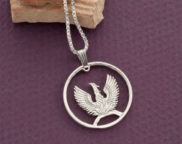 "Silver Greek Phoenix Pendant and Necklace, Hand cut 1973 Greek Phoenix Coin, Mythilogical Jewelry, 7/8"" diameter, ( # 861S )"