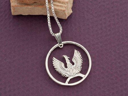 "Silver Greek Phoenix Pendant and Necklace, Hand cut 1973 Greek Phoenix Coin, Mythilogical Jewelry, 7/8"" diameter, ( # 861S )"