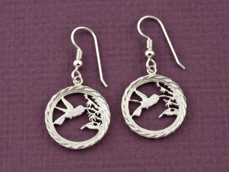 Silver Hummingbird Earrings, Hummingbird Earrings, Hummingbird Jewelry, Sterling Silver Hummingbird Earrings, Womans Earrings ( # 596ES )