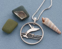 "Silver Humpback Whale Pendant and Necklace, Canadian half dollar Humpback whale coin, Humpback Whale Jewelry, 1"" diameter, ( # 677S )"