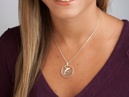"""Silver Humpback Whale Pendant and Necklace, Canadian half dollar Humpback whale coin, Humpback Whale Jewelry, 1"""" diameter, ( # 677S )"""