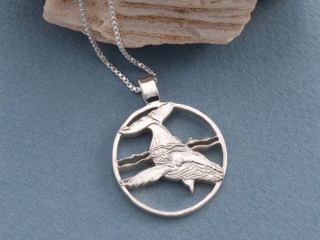 """Silver Humpback Whale Pendant and Necklace, Sterling Silver Humpback Whale Jewelry, Silver Sea Life Jewelry,1 1/8"""" diameter, ( # 640S )"""