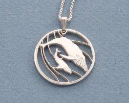 "Silver Humpback Whale Pendant, Hand cut Humpback Whale Coin Pendant, Silver Sea Life Jewelry, 1 1/8"" diameter, ( # 383S )"