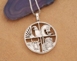 "Silver Icelandic Pendant and Necklace, Hand cut Iceland coin pendant, Iceland Coin Jewelry, 1"" in diameter, ( # 420S )"