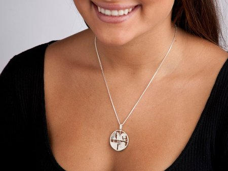 """Silver Icelandic Pendant and Necklace, Hand cut Iceland coin pendant, Iceland Coin Jewelry, 1"""" in diameter, ( # 420S )"""
