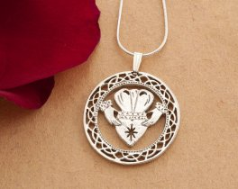 "Silver Irish Claddah Pendant and Necklace, Hand cut Irish Claddah Medallion, Silver Irish Jewelry, 1 1/8"" diameter, ( # 835S )"
