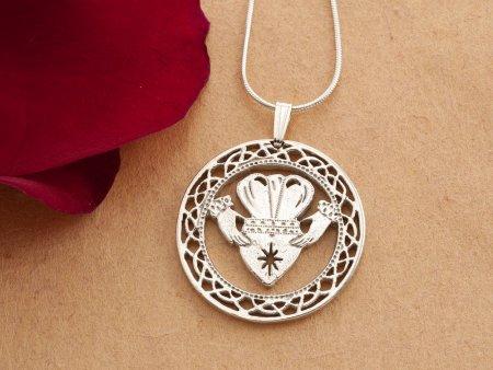 "Silver Irish Claddah Pendant and Necklace, Hand cut Irish Claddah Medallion, Silver Irish Jewelry, 1 1/8"" diameter, ( # 835S )"