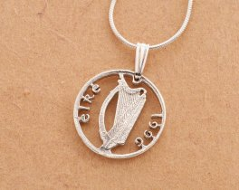 "Silver Irish Harp Pendant and Necklace, Hand cut Ireland three pence coin, Irish Coin Jewelry, 5/8"" in diameter ( #  159S )"