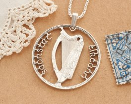 "Silver Irish Harp Pendant, Hand Cut Ireland Half Crown Coin, Gallic Irish Harp Jewelry,  Gallic Jewelry , 1 1/4"" diameter, ( # 418S )"