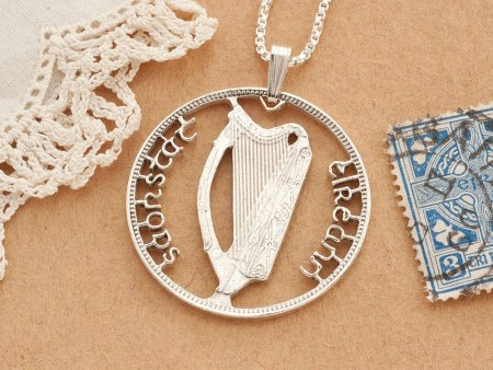 """Silver Irish Harp Pendant, Hand Cut Ireland Half Crown Coin, Gallic Irish Harp Jewelry,  Gallic Jewelry , 1 1/4"""" diameter, ( # 418S )"""