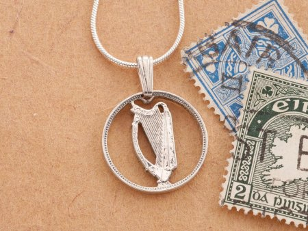 "Silver Irish Harp prndant, Hand cut Ireland three pence coin, Ireland coin jewelry, 5/8"" in diameter, ( # 164S )"