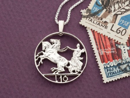 "Silver Italian Coin Pendant, Hand cut Italian 10 Lira Coin, Silver Italian Coin Jewelry, 1"" in diameter, ( # 204S )"
