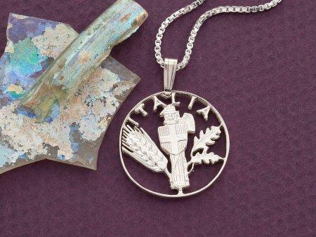 "Silver Italian Coin Pendant, hand cut Italian coin, Italian Coin Jewelry, Silver Italian Jewelry,  1"" in diameter , ( # 201S )"