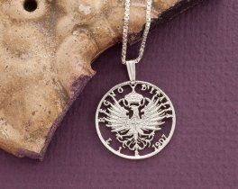 "Silver Italian Eagle Pendant and Necklace, Hand cut Italy one lira coin pendant, Silver Italian Coin Jewelry, 1"" diameter, ( # 196S )"