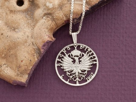 """Silver Italian Eagle Pendant and Necklace, Hand cut Italy one lira coin pendant, Silver Italian Coin Jewelry, 1"""" diameter, ( # 196S )"""