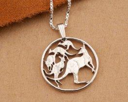 Silver Kangaroo Pendant, Australian Kangaroo Jewelry, Australian Jewelry, Wild Life Jewelry, Kangaroo Pendant, Kangaroo Jewelry, ( # 784S )
