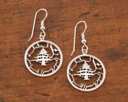 Silver Lebanese Cedar tree Earrings, Lebanese Cedar Tree Earrings, Lebanese Coin Jewelry, Cedar Tree Jewelry, Womans Jewelry, ( # 229ES )