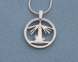 "Silver Lighthouse Pendant and Necklace, Bahamas lighthouse coin pendant, Lighthouse Jewelry, Nautical Jewelry, 7/8"" diameter, ( # 728S )"
