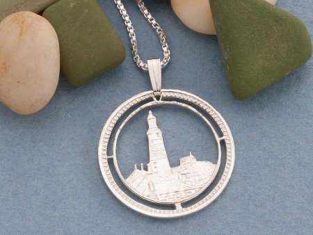 """Silver Lighthouse Pendant and Necklace, Hand cut Lighthouse Coin jewelry, Sterling Silver Nautical Jewelry, 1"""" diameter, ( # 125S )"""