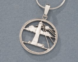 "Silver Lighthouse Pendant , Sterling Silver Lighthouse Jewelry, Silver Nautical Jewelry, World Coin Jewelry, 3/4"" diameter, ( # 26S )"