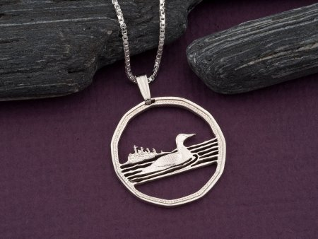 Silver Loon Pendant, Canadian Loon Jewelry, Sterling Silver Loon Jewelry, Canadian Coin Jewelry, Silver Jewelry,  Waterfoul Gifts ( # 54S )
