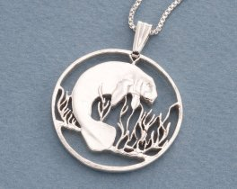 "Silver Manatee Pendant and Necklace, Hand cut Costa Rican Manatee Coin Pendant, Silver Manatee Jewelry, 1 1/4"" diameter, ( # 378S )"