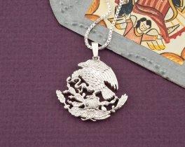 "Silver Mexican Eagle Pendant, Hand cut Mexican Eagle Coin Pendant, Mexican Coin Jewelry, 1 1/8"" diameter, ( # 502S )"