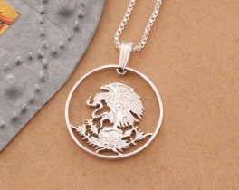 Silver Mexican Eagle Pendant, Mexican Eagle Necklace, Mexican Eagle Jewelry, Mexican Coin Jewelry, Silver Eagle Jewelry, ( # 435S )