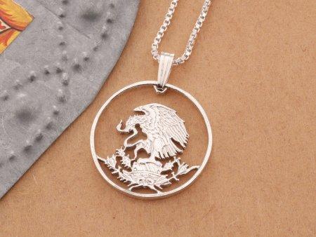 Silver Mexican Eagle Pendant, Mexican Eagle Necklace, Mexican Eagle Jewelry, Mexican Coin Jewelry, Silver Eagle Jewelry, ( # 435S )