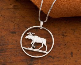 "Silver Moose Pendant and Necklace, Hand cut Polish Moose Coin , Wild Life Jewelry, 1 1/4"" diameter, ( # 913S )"