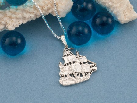 Silver Nautical Jewelry, Sterling Silver Clipper Ship Pendant, Silver Sailboat Jewelry, Mens Nautical Jewelry, Mens Gifts ( # 567S )