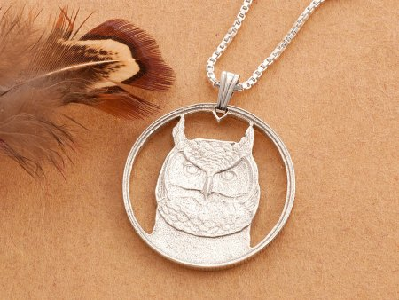 """Silver Owl Pendant and Necklace, Hand cut Canadian Owl Coin, Sterling Silver Owl Jewelry, 1"""" diameter, ( # 737S )"""