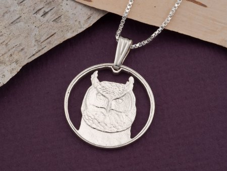 "Silver Owl Pendant and Necklace, Hand cut Canadian Owl Coin, Sterling Silver Owl Jewelry, 1"" diameter, ( # 737S )"