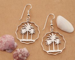 Silver Palm Tree Earrings, Palm Tree Earrings, Palm Tree Jewelry, Tropical Earrings, Silver Tropical Jewelry, Womans Gifts , ( # 433ES )