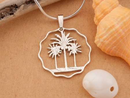"Silver Palm Tree Pendant, Silver Palm Tree Jewelry, Tropical Jewelry, Carribean Jewelry, Silver Palm Tree 1"" in diameter, ( # 433S )"
