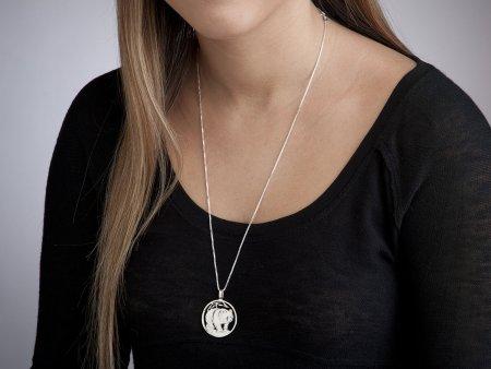 "Silver Panda Bear Pendant and Necklace, Hand cut Chinese Panda Bear Coin, Silver Panda Jewelry, Panda Jewelry, 1 1/4"" diameter, ( # 746S )"