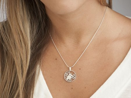 "Silver Panda Bear Pendant and necklace, Hand cut Chinese Panda coin jewelry, Silver Panda Bear Jewelry, 7/8"" in diameter, ( # 365S )"