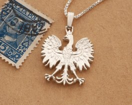 "Silver Polish Eagle Pendant and Necklace, Hand cut Poland 10 Zlotch coin pendant, Silver Polish Eagle Jewelry, 1"" in diameter, ( # 256S )"