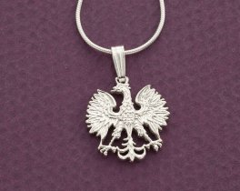 "Silver Polish Eagle Pendant and Necklace, Hand cut Polish Eagle Coin, Sterling Silver Polish Eagle Jewelry, 5/8"" in diameter, ( # 254S )"