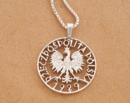 "Silver Polish Eagle Pendant and Necklace, Hand cut Polish Eagle coin, Sterling Silver Polish Eagle Jewelry, 7/8"" diameter, ( # 257S )"