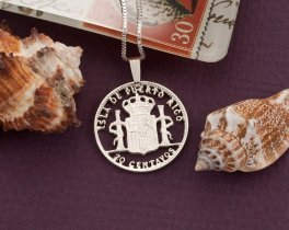 Silver Puerto Rican Pendant, Puerto Rican Coin Jewelry, Puerto Rican Jewelry, Puerto Rican Gifts, World Coin Jewelry,  ( # 591S )