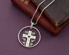 "Silver Religious Cross Pendant, Hand cut religious cross medallion, 1 1/4"" diameter, ( # 875S )"